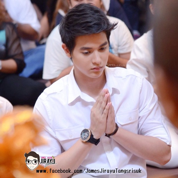 James Jirayu during the monk offering ceremony for his debut movie