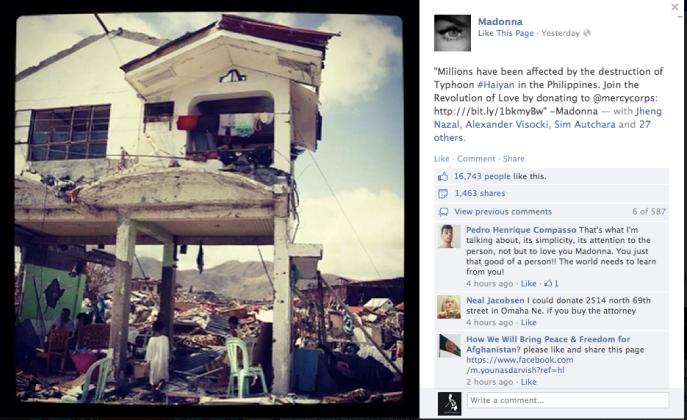 madonna typhoon haiyan philippines